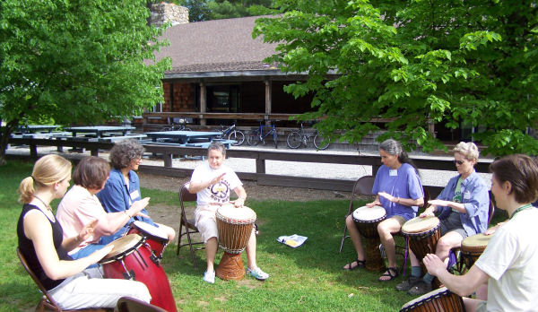 Drumming in front of Northern Lodge - Click to Enlarge
